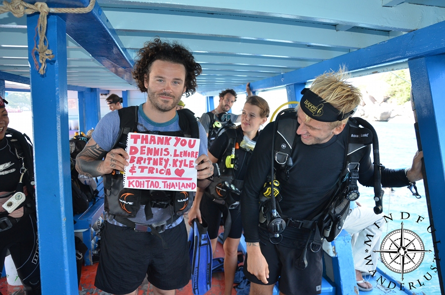 Thank you so much to Dennis, Lenore, Britney, Tricia and Kyle. Cody used your donation to get his Open Water Diving Certification in Koh Tao, Thailand. THANK YOU