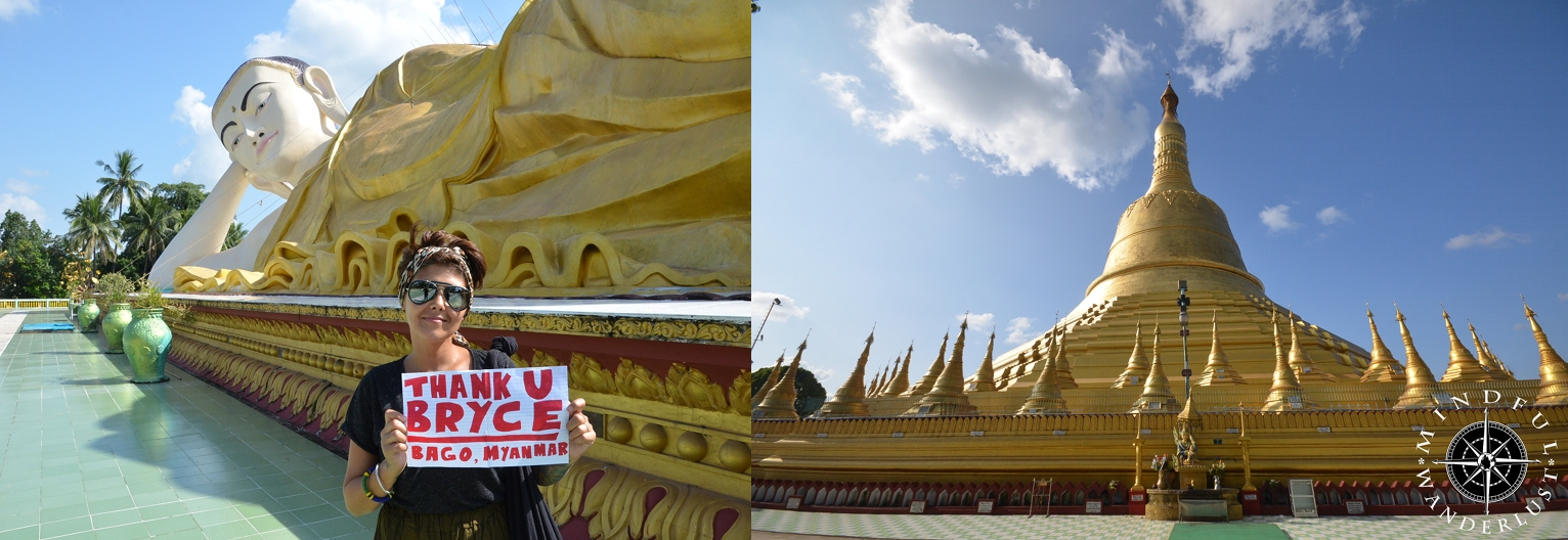 Thank you so much to Bryce Kehoe for the donation.   We used his donation to see some of the sites in Bago, Myanmar. We visited one of the reclining Buddhas, a few Monasteries, and a couple Pagodas, including the Shwemawdaw Paya Pagoda. Thank you so much!!