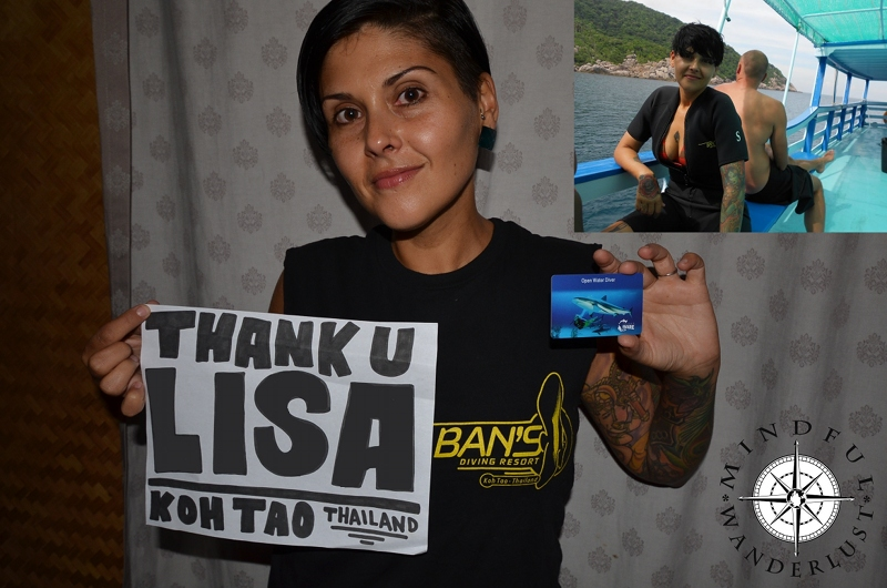 Thank you so much Lisa for your awesome donation. Giselle used it towards her Open Water Diving Certification in Koh Tao, Thailand.