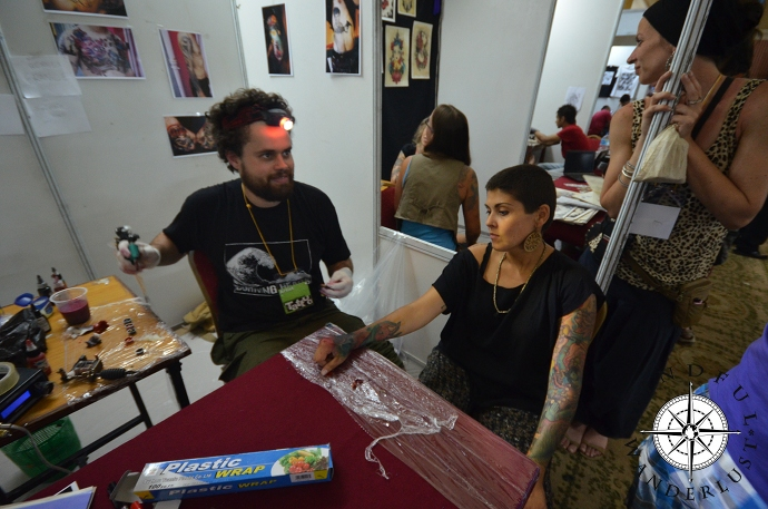 Getting my hand tattooed at the Nepal Tattoo Convention