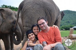 Giselle and Cody with Lek (Founder of Elephant Nature Park)